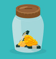 jar with coins and bills dollars money vector image vector image