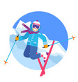 jumping happy skier in the mountains vector image