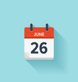 June 26 flat daily calendar icon Date vector image vector image