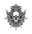 king cannabis skull and weed leaf mascot vector image vector image