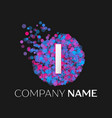 letter i logo with blue purple pink particles vector image