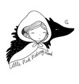 little cute girl and a wolf vector image vector image