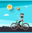 man on bicycle flat design vector image vector image