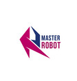 master robot letter r icon vector image vector image