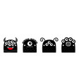 monster icon line set happy halloween kawaii cute vector image