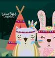owl and rabbit wooland animals cartoon vector image vector image