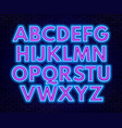 pink blue neon alphabet on a dark background vector image