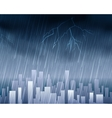 Rainy weather in town blue background vector image
