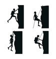 set black silhouette scene men climbing on a rock vector image vector image