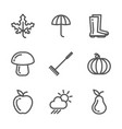 set of autumn icons collection of linear vector image vector image