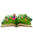 story book with snow white and dwarf vector image vector image