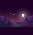 travel night cartoon landscape fir comet star vector image