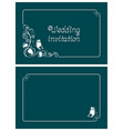 turquoise wedding invitation card vector image vector image