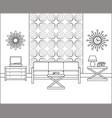 vintage room interior in line art linear vector image