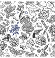 vintage tattoos seamless patterns vector image vector image