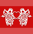 white christmas flying two angels on the red vector image