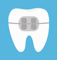 white tooth braces icon cute cartoon funny icon vector image