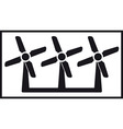 windmill icon with three fan vector image vector image