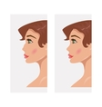 Woman before and after rhinoplasty vector image