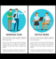 working task office work set vector image vector image