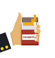 hand holding open pack of cigarettes vector image