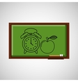 education concept blackboard with clock apple vector image