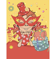 A girl in a carnival mask and a hat postcard vector image vector image