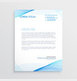 abstract blue wavy shape letterhead design vector image vector image