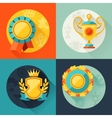 Backgrounds with trophy and awards in flat design vector image vector image