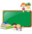 border design with children reading books vector image