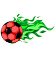 burning soccer ball on white background vector image vector image