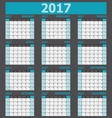 Calendar 2017 week starts on Sunday 12 months set vector image vector image