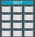 Calendar 2017 week starts on Sunday 12 months set vector image