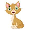 cartoon cute cat sitting isolated vector image