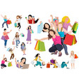 collection people carrying shopping bags vector image