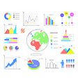 colorful graphics and charts set vector image vector image