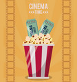 colorful poster of cinema time with popcorn bucket vector image vector image