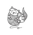 cute cat laying on yarn ball vector image vector image