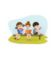 cute little girls and boy sitting on bench in park vector image vector image