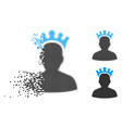 disintegrating dotted halftone king icon vector image vector image