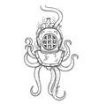 diver helmet doodle vector image