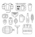 doodle icons set of beer symbols beer vector image