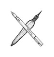 dotwork brush pen tools vector image