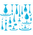 falling blue drops and splash set icons vector image vector image