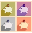Flat with shadow icon concept piggy bank and vector image vector image