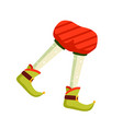 funny christmas elf feet flat vector image vector image