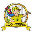 funny zoo keeper with parrot emblem vector image vector image