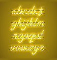 glowing yellow neon lowercase script font vector image vector image