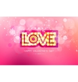gold inscription love with glowing lamps vector image vector image