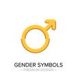 Golden male gender symbol isolated on white